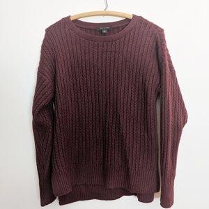 Ann Taylor Maroon Ribbed Wool Alpaca Sweater